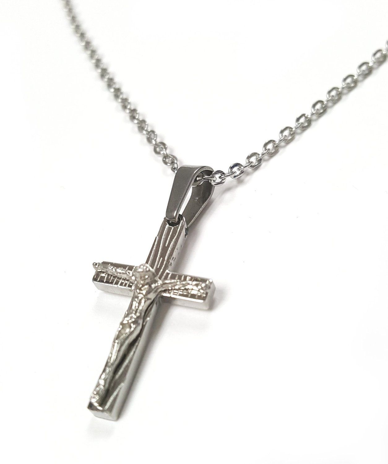 catholic stainless steel delicate small crucifix pendant