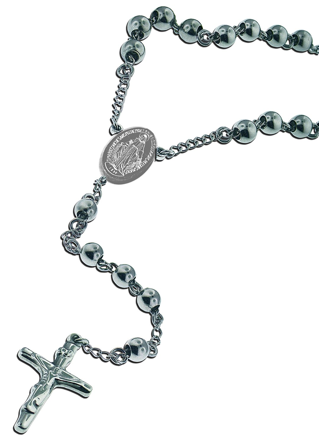 stainless necklace and catholic beads inches with product crucifix steel medal rosary