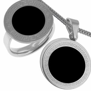Choice-Stainless-Steel-Ring-Size-and-Pendant-Round-Black-Color-Style-Set-Includes-16-Inches-Chain-B00BPV4Q12
