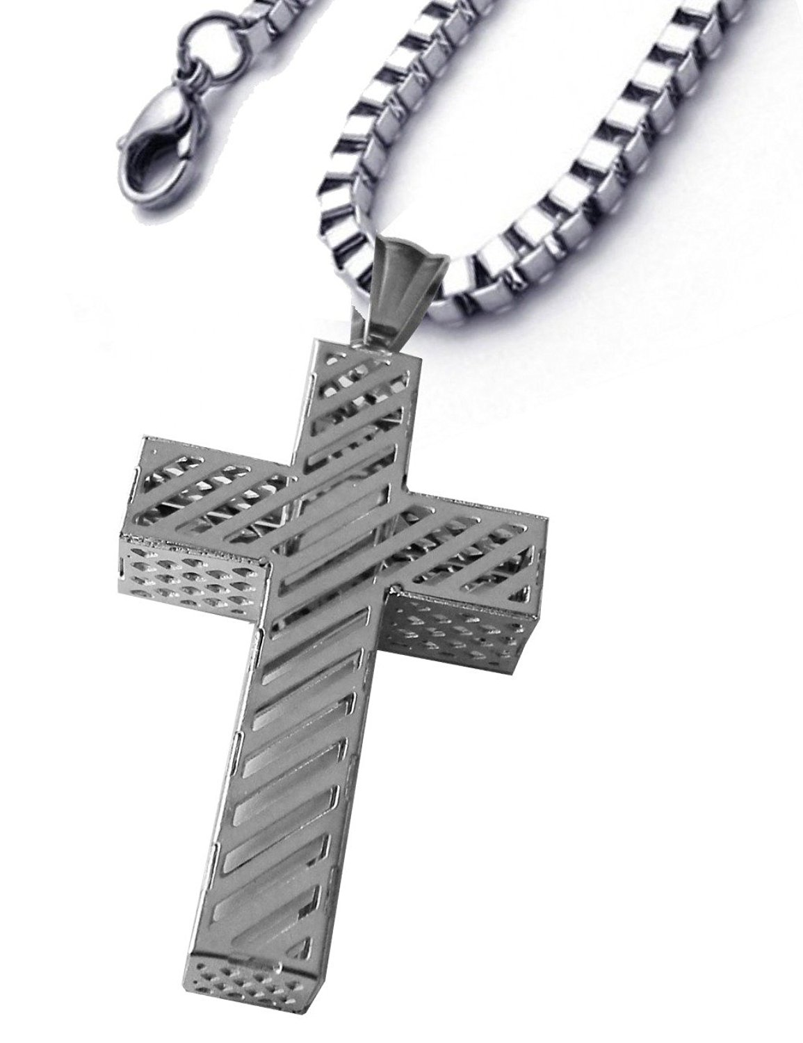 Christian cross necklace stainless steel inches