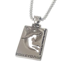 Christian-Stainless-Steel-Sport-Medal-Necklace-Chain-Included-with-God-all-things-are-possible-Volleyball-B01NAOAGT0