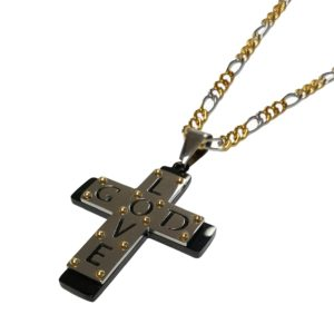Christian-Three-Tone-Black-Gold-and-Silver-Cross-Necklace-LOVE-GOD-Cross-18-20-or-24-Two-Tone-Figaro-Chain-20-B01I0YJOUO