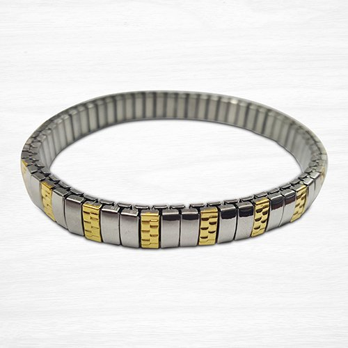 Two Tone Gold and Silver Stainless Steel Expandable Bangle Wide 7