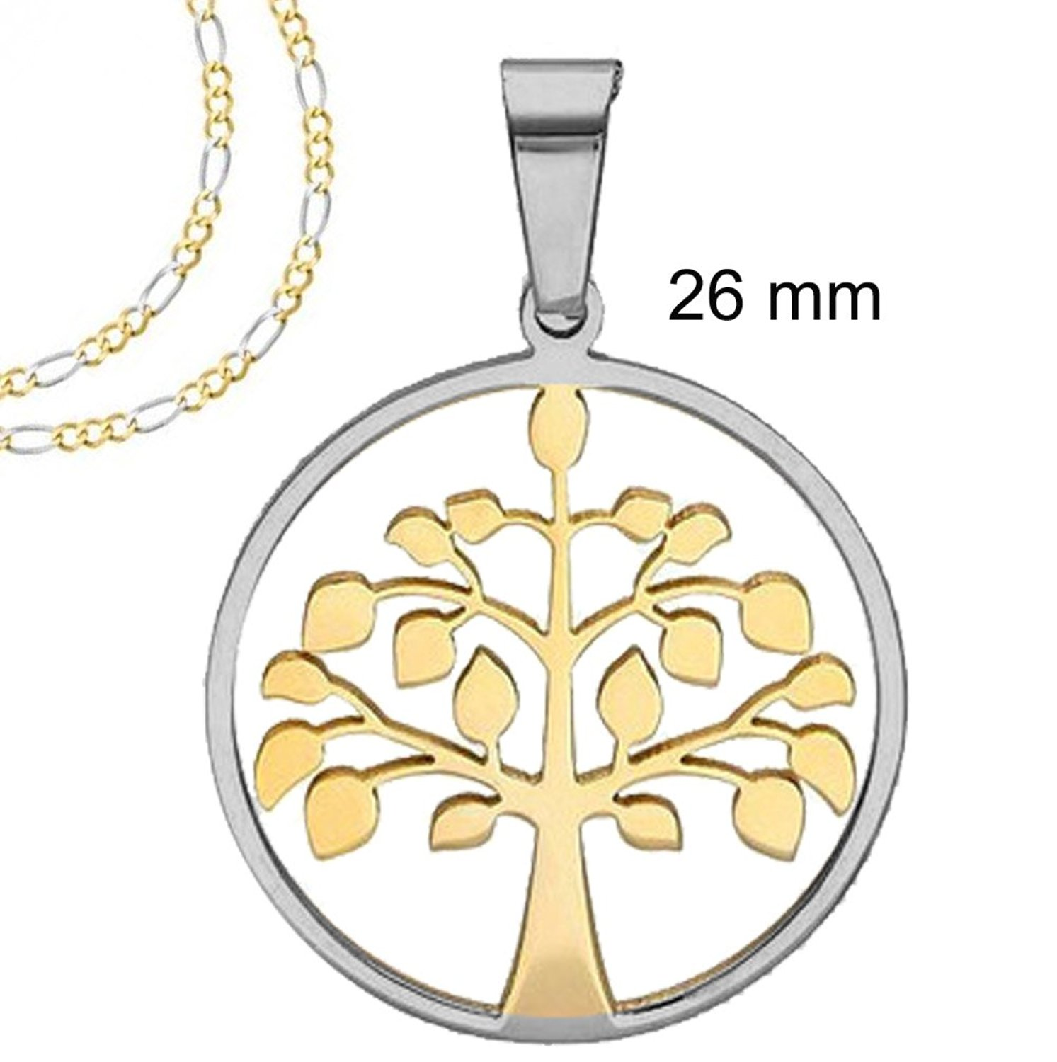 Two tone Gold and Silver Round Tree of Life pendant Necklace with ...