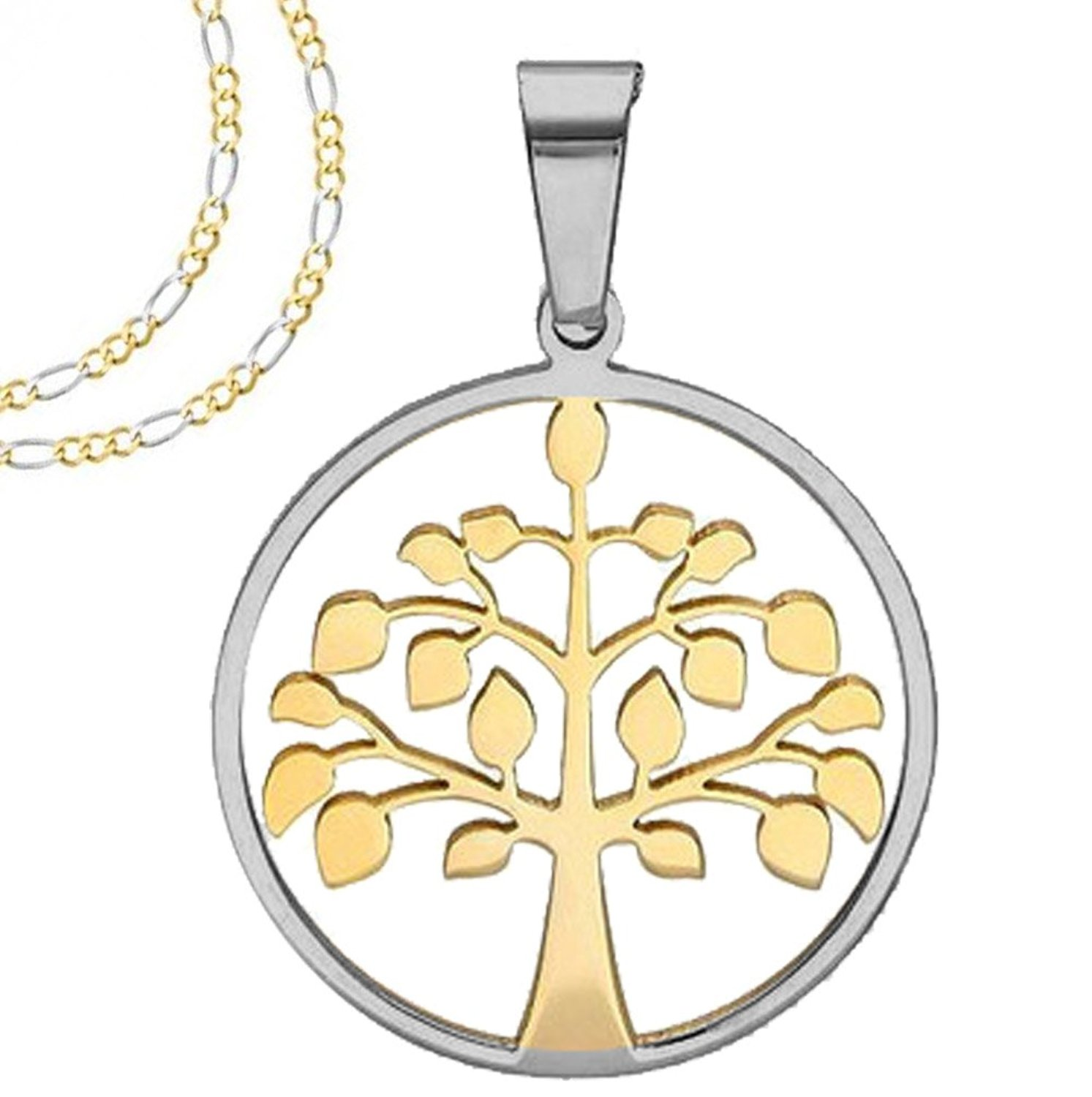 Two tone gold and silver round tree of life pendant with frame two tone gold and silver round tree of aloadofball Choice Image