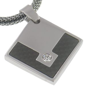 Black-Carbon-Fiber-3MM-Diamond-Bright-CZ-Stainless-Steel-Pendant-16-Inches-Stainless-Steel-Chain-B00BLQ0NUO