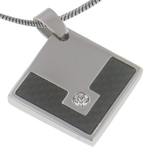 Black-Carbon-Fiber-3MM-Diamond-Bright-CZ-Stainless-Steel-Pendant-20-Inches-Stainless-Steel-Chain-B00BLQ0O0I