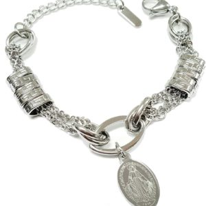 Catholic-Stainless-Steel-Lady-of-the-Miraculous-Medal-Bracelet-B01HZYRRHW
