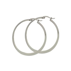 Choice-One-Pair-Stainless-Steel-Flat-Accent-Earrings-40mm-45mm-50mm-60mm-Top-Click-Closure-Hoop-Earrings-40-mm-B00NAAA8GI