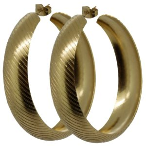 Gold-Color-Stainless-Steel-Gorgeous-Stripe-lined-Hoop-Earrings-Diam-45-mm-18-Inches-B00BNWGZ1M