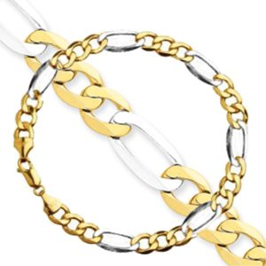 MEN-Set-2-Pieces-two-tone-7-MM-Figaro-Link-S-Steel-Chain-Necklace-Bracelet-24-85-or-28-85-B00T3M7OM8