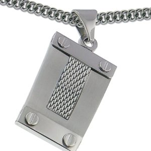 Men-or-women-Pendant-Medal-4-Corner-Screws-and-Polish-Mesh-24-Inches-Stainless-Steel-Chain-Included-B00BPAWFZW