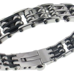 Mens-Bangle-Solid-Bracelet-Stainless-Steel-and-Rubber-B00BL93JN4