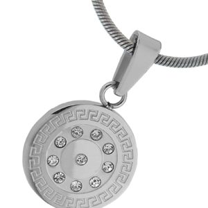 Round-Greek-Key-Engraved-Stainless-Steel-Pendant-10-CZ-Bright-Diamond-Looking-Stainess-Steel-Chain-16-Inches-B00BN1Q9U0