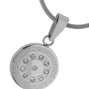 Round-Greek-Key-Engraved-Stainless-Steel-Pendant-10-CZ-Bright-Diamond-Looking-Stainess-Steel-Chain-18-Inches-B00BN1Q9TQ