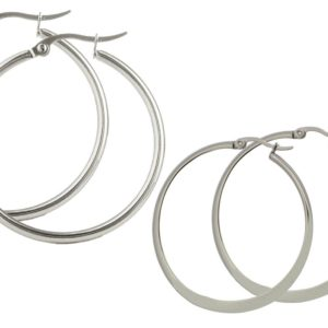 Set-of-Two-Pairs-Stainless-Steel-40mm-Flat-Accent-and-50mm-Round-Top-Click-Closure-Hoop-Earrings-B00N9AG2IC
