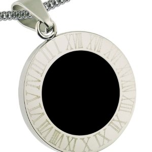 Stainless-Steel-Round-Pendant-1-Inch-Diam-25mm-Roman-Numbers-Engraved-Stainless-Steel-Chain-Included-20-Inches-B00BPD605U