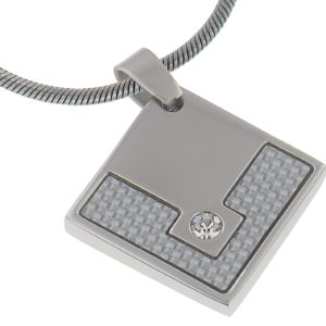 White-Carbon-Fiber-3MM-Diamond-Bright-CZ-Stainless-Steel-Pendant-16-Inches-Stainless-Steel-Chain-B00BLSXRZK